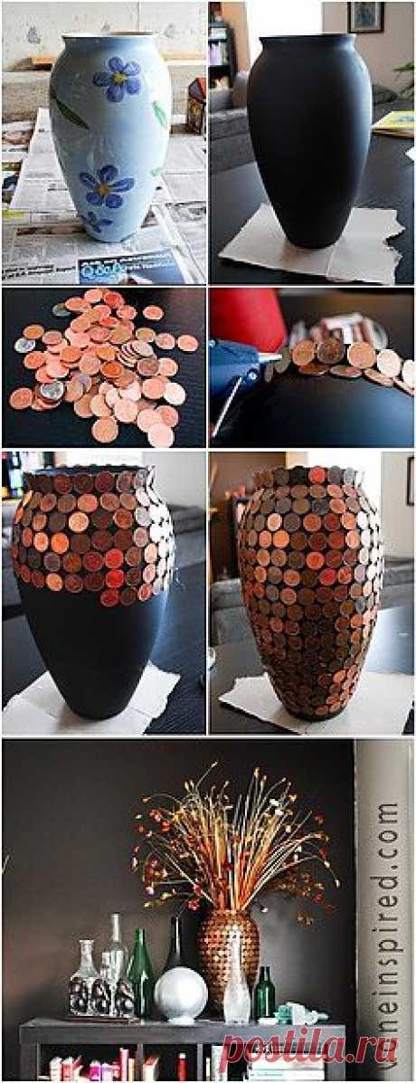Декор вазы монетами