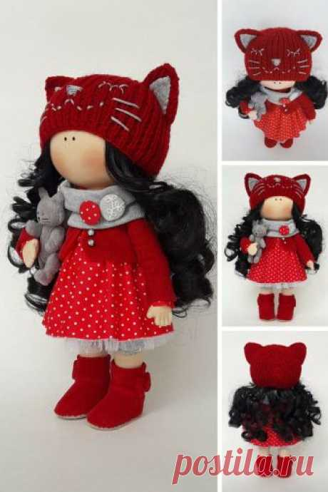 Fabric Cat Doll Textile Red Doll Art Decor Doll Baby Gift Doll