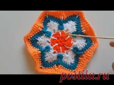 Мотив шестиугольный цветной крючком  CROCHET: African flower into a square tutorial