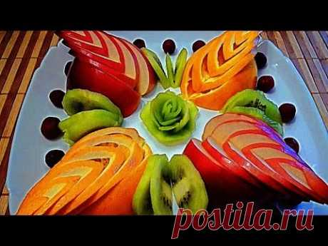 5 Layfkhakov Kak it is beautiful to cut fruit Kak beautifully to issue a fruit table of Ornament