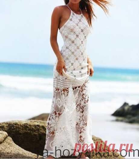 Пляжная туника крючком со схемами. Летнее вязаное длинное платье крючком