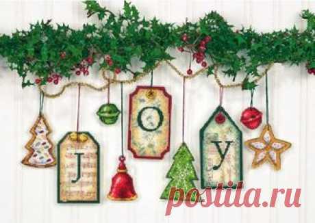 Наборы для вышивания-Dimensions-70-08849 Joy Tag Ornaments
