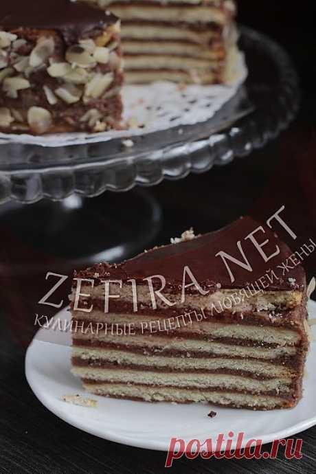 Торт с песочными коржами и шоколадным кремом.