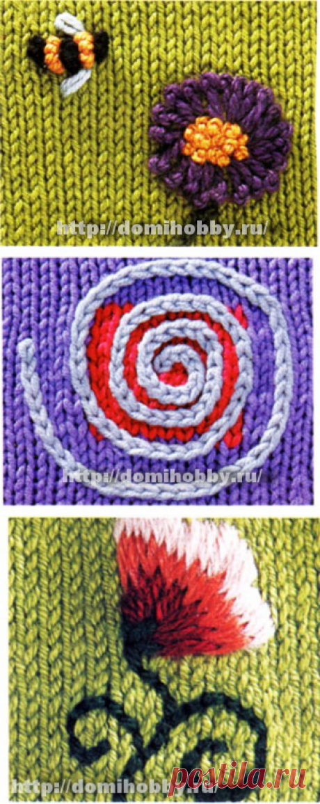 Вышивка на вязаном полотне. Виды швов