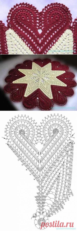 Салфетка с сердечками крючком — Красивое вязание