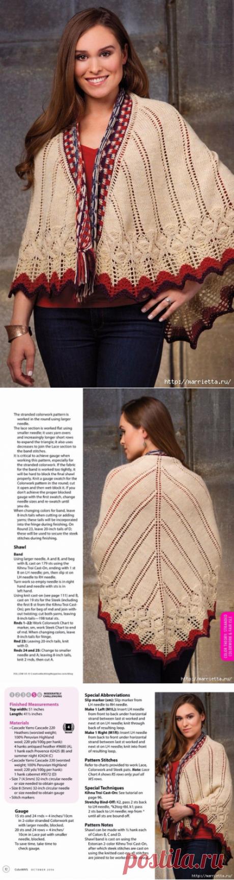 Интересная и оригинальная шаль спицами