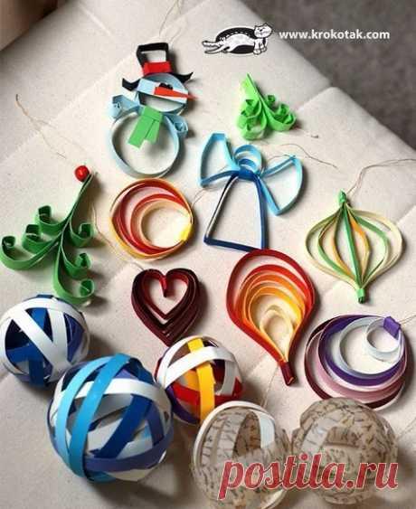 Новогодние игрушки из бумажных полос