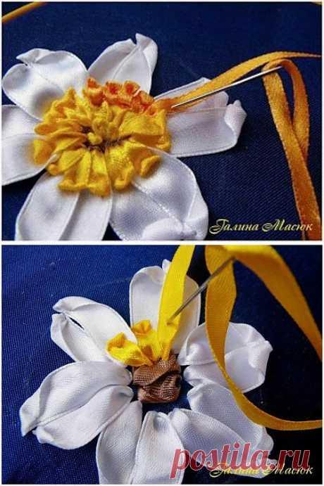 Вышивание Атласными Лентами Нарцисса – Мастер-Класс