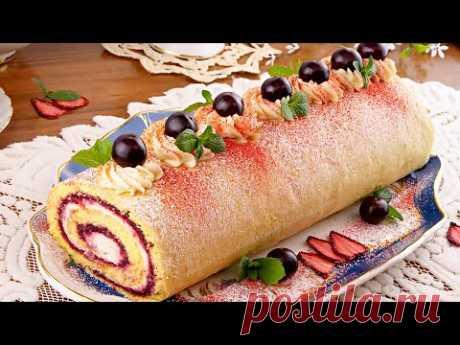 🍰Очень вкусный десерт! Бисквитный рулет с фруктовым джемом и кремом из творожного сыра!