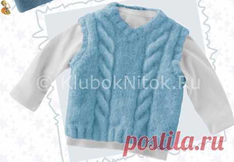 Голубая безрукавка с косами | Безрукавки | Вязание спицами и крючком. Схемы вязания.
