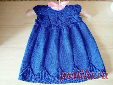Платье  для девочки спицами вяжем ТОЛЬКО ажурную кокетку (2 часть)