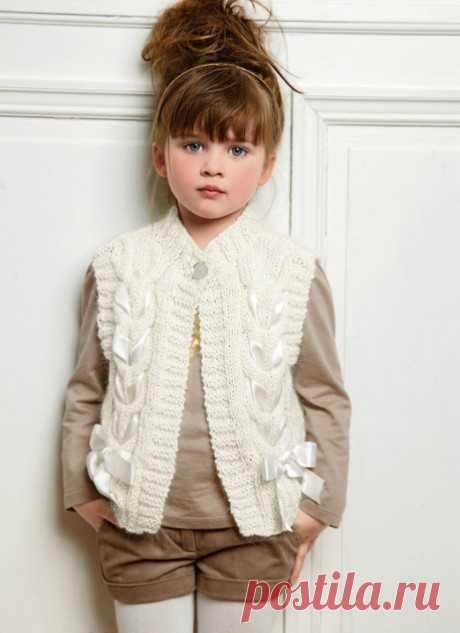 Жилет для девочки спицами 44 модели с описанием и схемами вязания, Вязание для детей