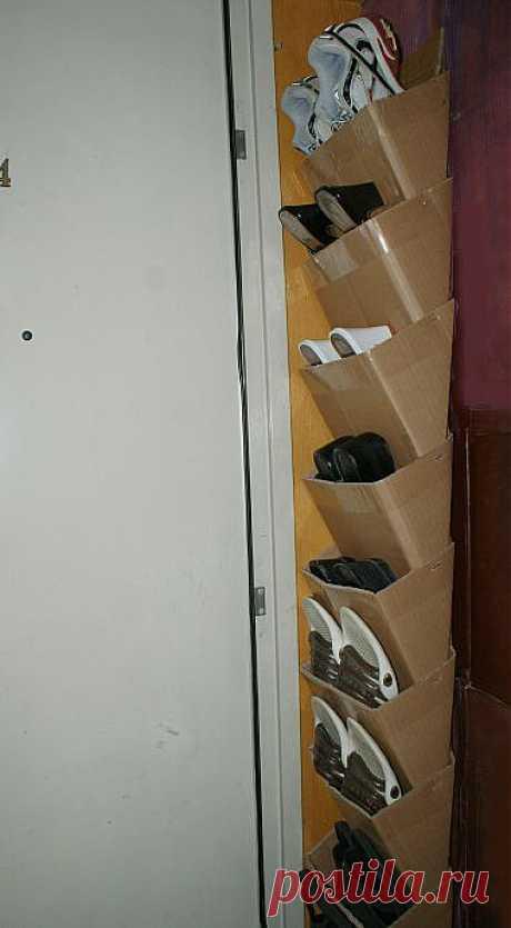 Карманы для обуви из картона. Небольшой мастер-класс.