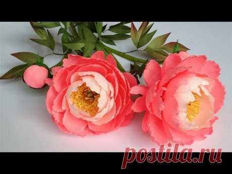 ABC TV  Как сделать Коралловый Шарм Пион Бумажный Цветок от Крепированной Бумаги