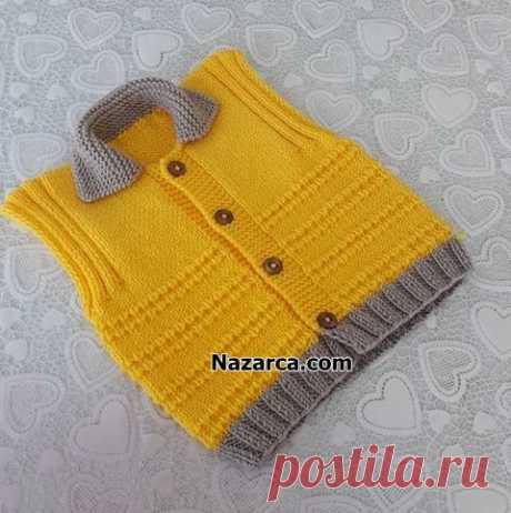 Лимонно-желтый жилет для мальчиков с воротником повествование | Nazarca.com