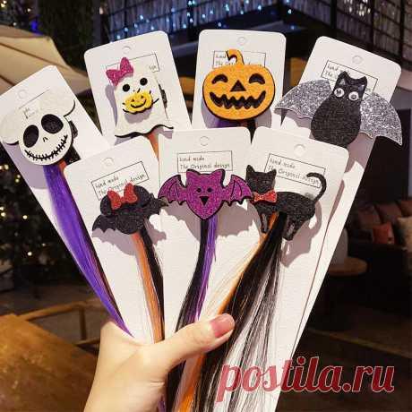 Girls cute pumpkin cartoon headbands hair clips hair ornament halloween party hairpins fashion hair accessories Sale - Banggood.com