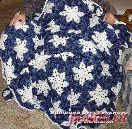Плед со снежинками. Красивая, зимняя идея для вязания крючком. | Люблю Себя