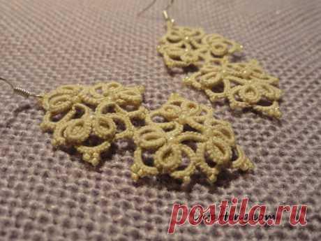 Схема плетения серег фриволите и пошаговая инструкция к плетению | intatting.com - фриволите с душой