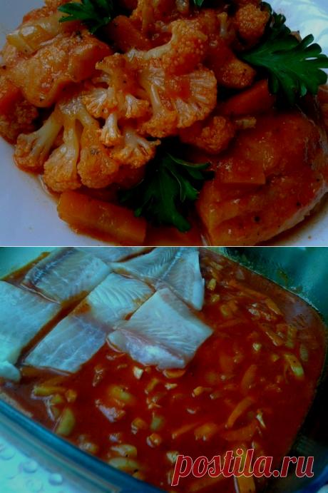Морской язык запечённый с цветной капустой во вкуснейшем томатном соусе.
