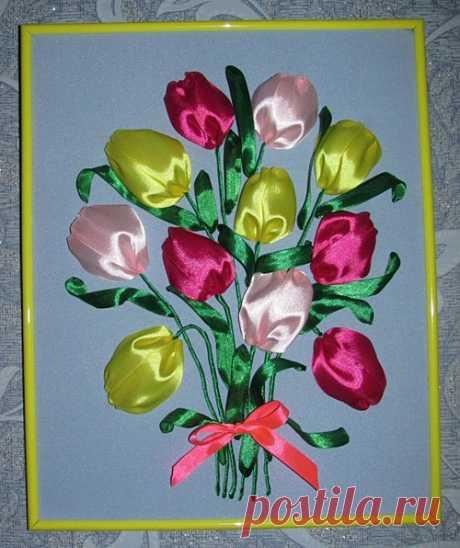 Вышиваем лентами тюльпаны (мастер-класс для начинающих) и оформляем в рамку