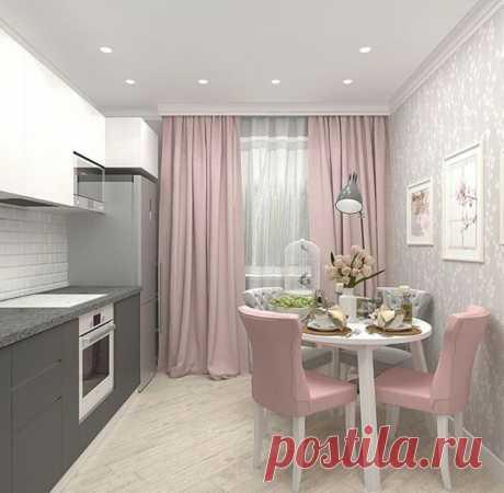 Розово-серая кухня. Нравится сочетание этих цветов.