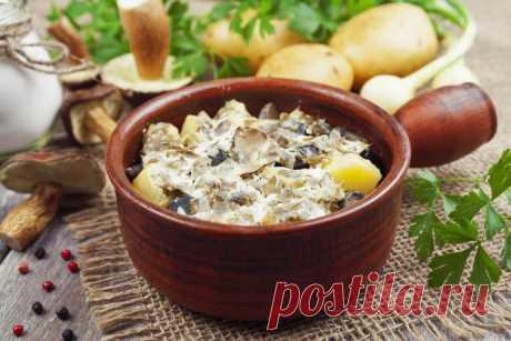Картошка с жареным луком и грибами в сметане