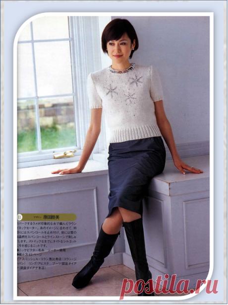 Комфортные офисные топики с коротким рукавом вязанные на спицах из японских журналов | Embroidery art | Яндекс Дзен