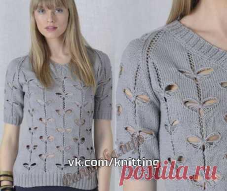 Пуловер необычным узором спицами