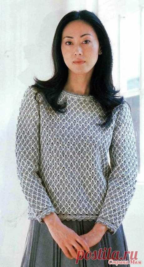 Пуловер плотным двух цветным узором. Крючок. Amu 2006 01