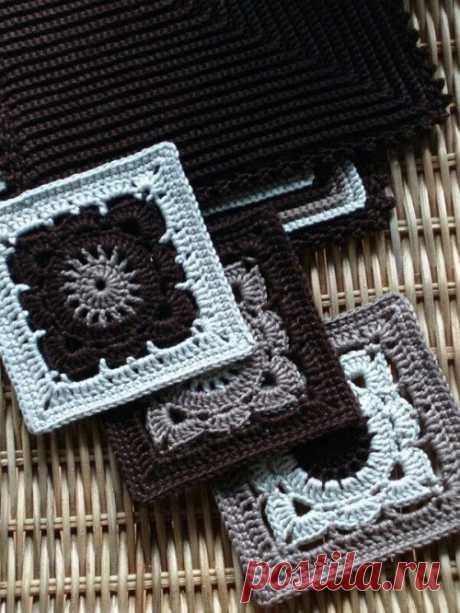 Красивый квадратный мотив - Эфария Красивый квадратный мотив. Схема вязания крючком ВК