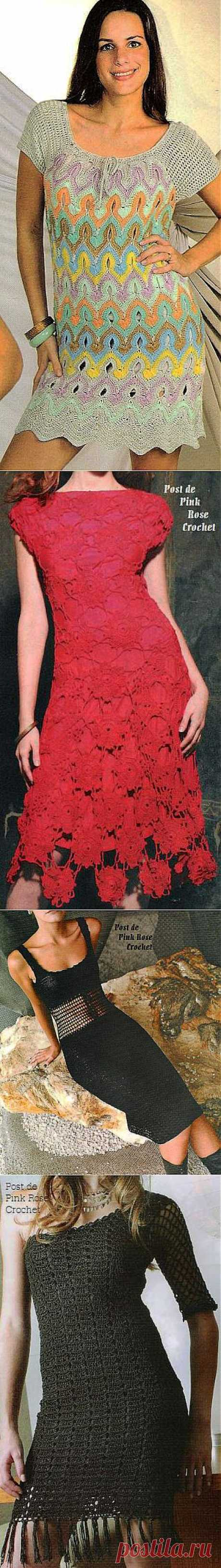 Вязание крючком. Летние платья. Схемы с выкройками.