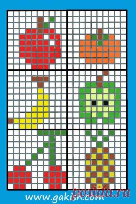 бесплатные Схемы вышивки для детей, маленькие схемы, фрукты схемы, вышивание для детей крестиком или бисером