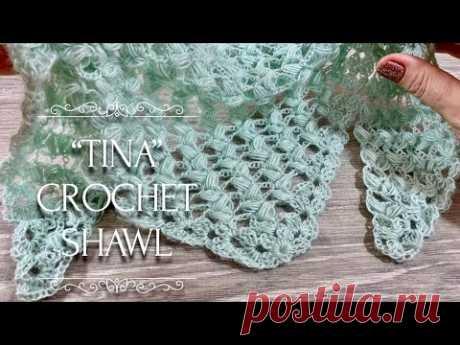 """Вяжем НЕЖНЕЙШУЮ шаль КРЮЧКОМ """"Tina"""" / How to Crochet Beautiful Shawl"""
