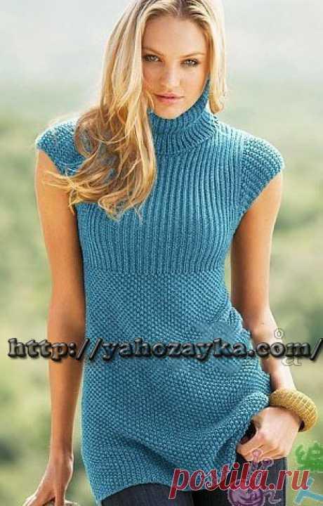 Голубая туника спицами - схема вязания + фото и описание Схема вязания спицами голубой туники - вязание для домохозяек.