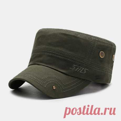 Men's Cotton Fashion Embroidered Flat Hat Outdoor All-Match Solid Color Military - US$15.99