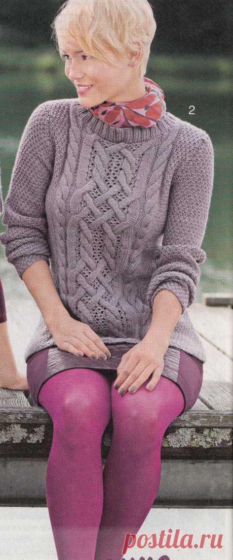 Шикарный пуловер с косами.
