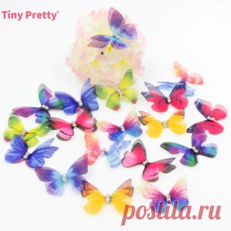 Бабочки двухслойные 3 см 20 шт, 9 расцветок + микс