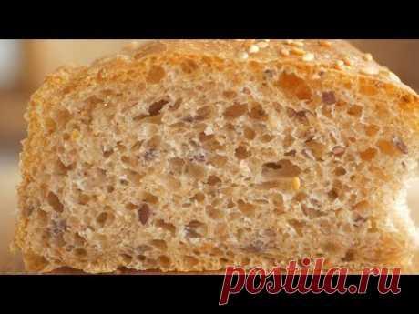 Хлеб из цельнозерновой муки с семенами льна и кунжутом. Подходит для постного стола