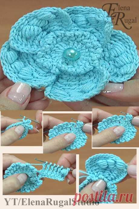Тунисское вязание. Вязание цветка с нежными лепестками