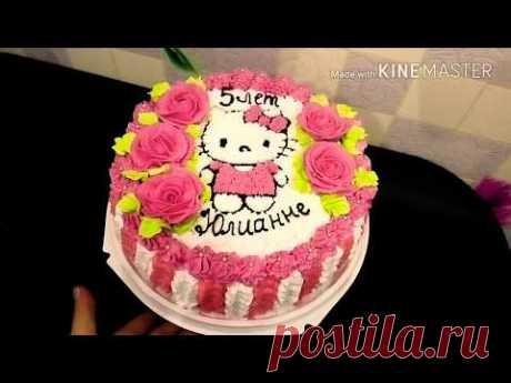 """Кремовый торт """"Китти"""" для девочки своими руками/Cream cake """"kitty"""" for girls with their hands"""
