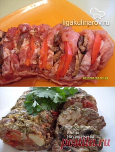 Свинина запеченная с помидорами и грибами - рецепт пошаговый с фото