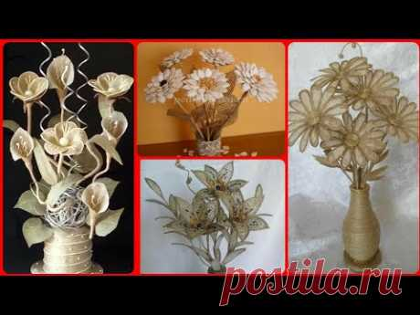 Diy Jute Flower Craft Ideas || Hndmade Jute Flowers || New Jute Craft