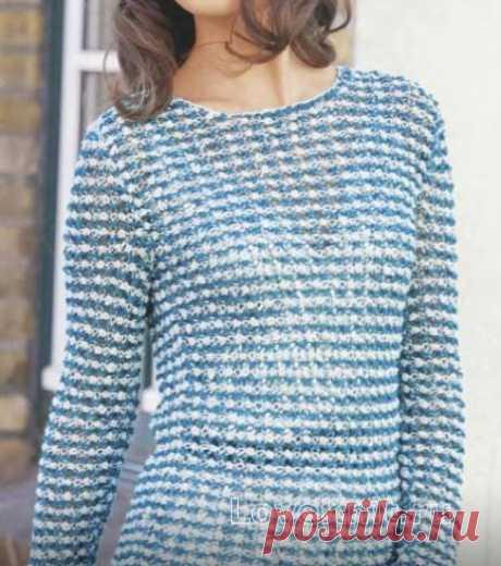 Удлиненный цветной пуловер схема спицами