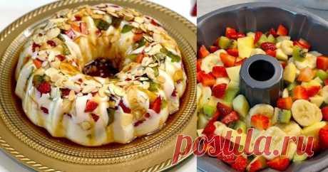Сказочно вкусный десерт с фруктами без выпечки ...