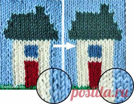 Интарсия. Прием, позволяющий выравнять петли около вертикальной линии смены цвета.