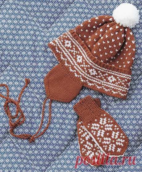 Теплый и удобный комплект из варежек и шапки жаккардом, можно связать и для новорожденных, и для детей постарше.