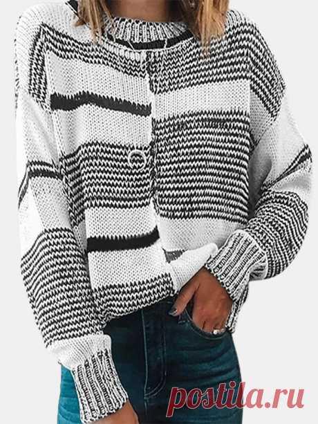 Винтаж Полосатый свитер с длинным рукавом и круглым вырезом с принтом для Женское Ваш друг поделился с вами модным сайтом и дает вам скидку до 20%! требуй это сейчас.