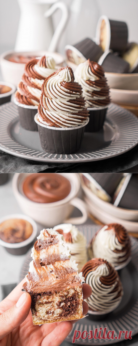 Мраморные капкейки (шоколад-ваниль), наша «зебра» | Andy Chef (Энди Шеф) — блог о еде и путешествиях, пошаговые рецепты, интернет-магазин для кондитеров |