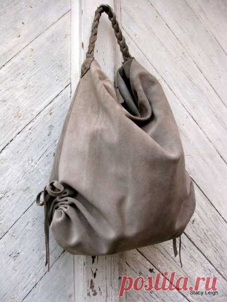 (291) Slouchy Leather Hobo Bag in Beige Suede by Stacy Leigh Made to Order