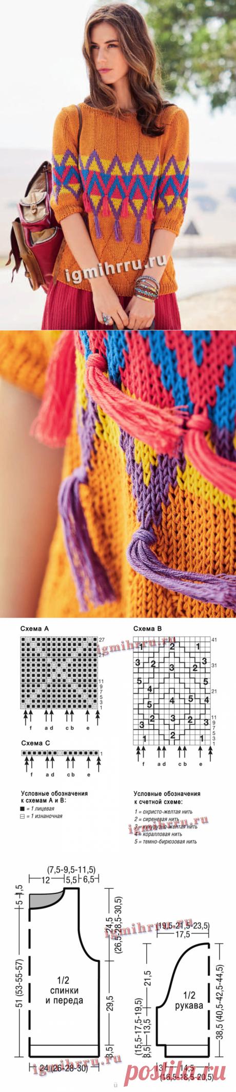 Пуловер с разноцветными жаккардовыми ромбами. Вязание спицами со схемами и описанием